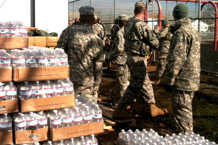 National guard trucks paroled the streets and members were in town for weeks giving out supplies.