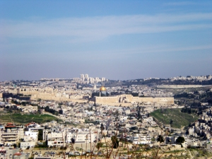 A view from afar of the old city of Jerusalem.