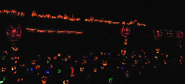 The skyline, subway cars, the Statue of Liberty and other Manhattan related things carved into pumpkins.