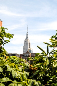 View of the Empire State building from The High Line  in Manhattan.