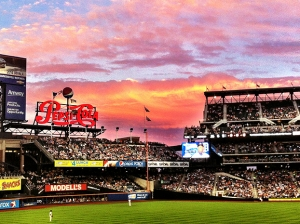 Summer sunset during the Met game at Citi Field in Queens.