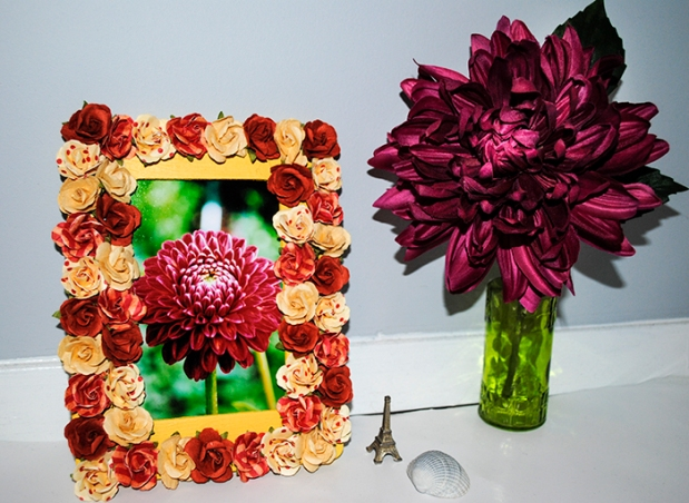 floral, frame, picture, picture frame, dahlia, flowers