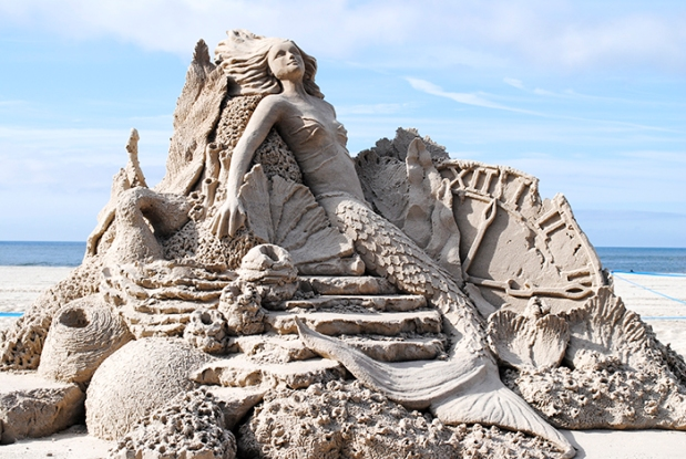 sand, sand sculpture, mermaid, beach, ocean, long beach new york, new york, long island