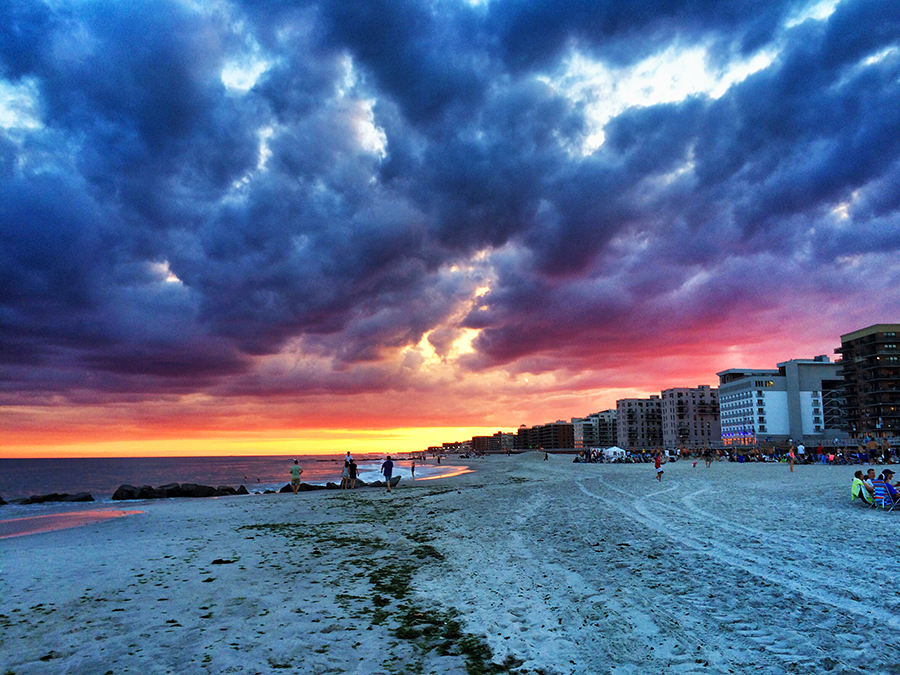 sunset, beach, ocean, sand, sky, clouds, long beach, long island, new york, summer