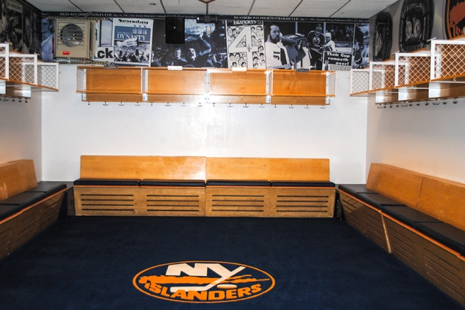 The Islanders locker room…too bad it was empty.