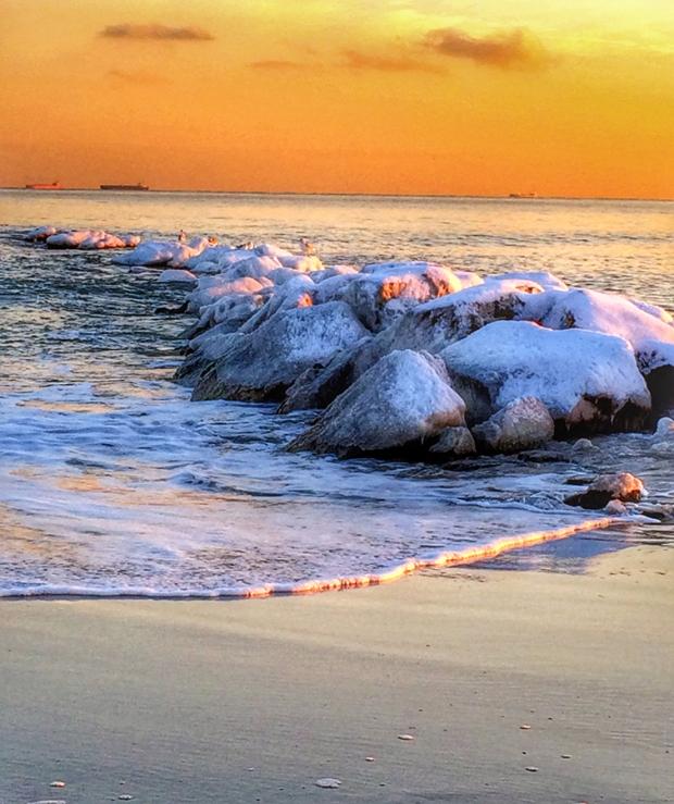 Frozen jetties in Long Beach, NY