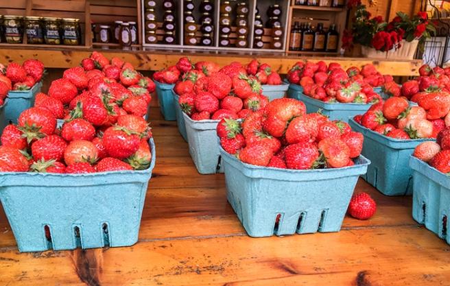 Fresh farm stand strawberries in Riverhead, NY. Photo by Alyson Goodman.