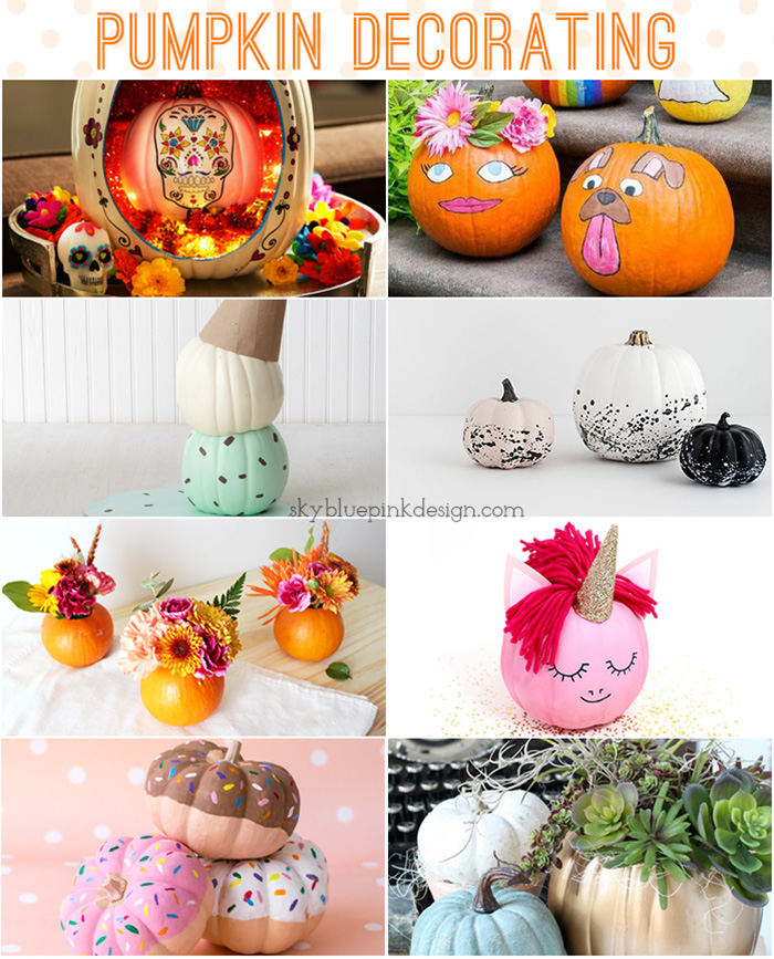 Pumpkin decorating ideas from skybluepinkdesign.com